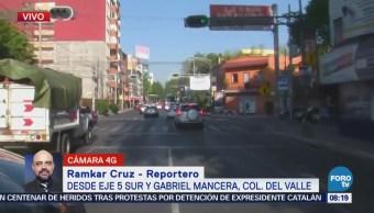 Tráfico fluido en Eje 5 Sur y Gabriel Mancera, CDMX
