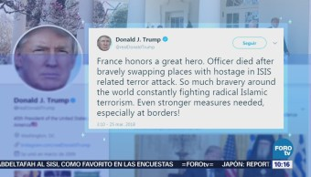 Trump glorifica al gendarme que se intercambió por rehén en Francia