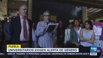 Universitarios exigen alerta de género en Puebla