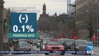 Ventas minoristas en Estados Unidos bajan 0.1% en febrero
