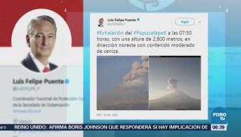 Volcán Popocatépetl emite exhalaciones de más de 2 mil metros de altura