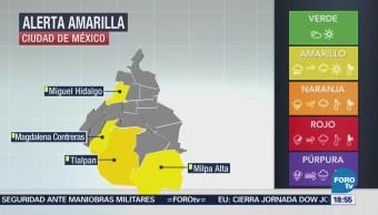 Alerta amarilla por lluvia en la CDMX