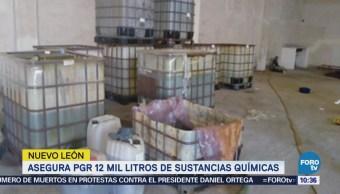 Aseguran 12 mil litros de sustancias químicas en Santa Catarina, NL