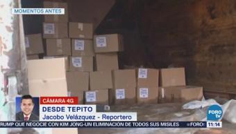 Aseguran mercancía robada dentro de camión de basura en Tepito