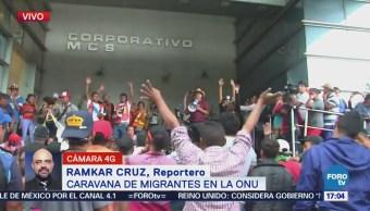 Caravana de migrantes acude a la ONU
