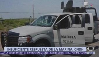 CNDH pide fincar responsabilidades por disparos de Semar contra civiles en Tamaulipas