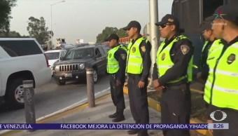 Concentración de taxistas en Churubusco y Tlalpan