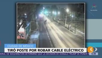 Detienen a hombre que tiró poste para robar cable eléctrico en CDMX
