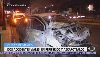 Dos accidentes vehiculares ocurren en Periférico y Azcapotzalco