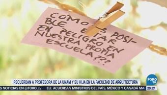Estudiantes de la UNAM recuerdan a profesora e hija asesinadas