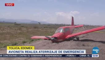 Falla mecánica en aeronave provoca aterrizaje de emergencia en Toluca
