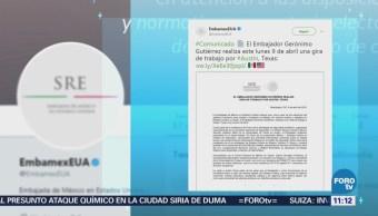 Gerónimo Gutiérrez, embajador de México en EU, realiza visita de trabajo en Texas
