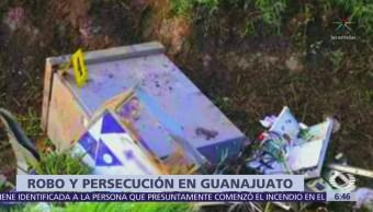 Grupo criminal roba cajero automático y sufre accidente carretero en Guanajuato