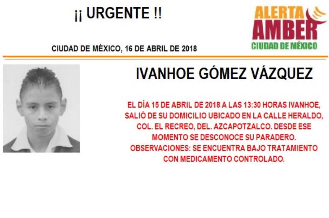 Activan Alerta Amber para localizar a menor extraviado en Azcapotzalco