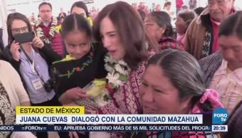 Juana Cuevas dialogó con la comunidad Mazahua