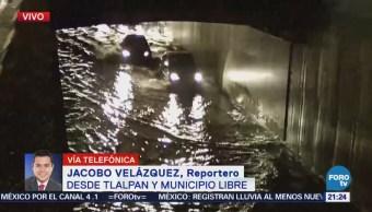 Lluvia provoca inundaciones en Tlalpan