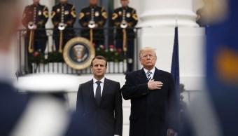 Donald Trump recibe a Macron con honores militares en la Casa Blanca