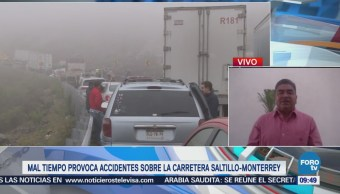 Mal tiempo Provoca Carambola Carretera Saltillo-Monterrey Accidente