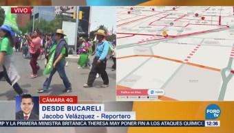 Manifestantes avanzan por Bucareli; afectan Insurgentes y Reforma, CDMX