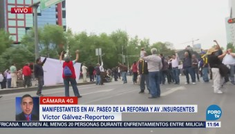 Manifestantes cierran circulación en Paseo de la Reforma e Insurgentes, CDMX