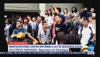 Manivestaciones contra reformas a ley de seguridad social nicaragüense