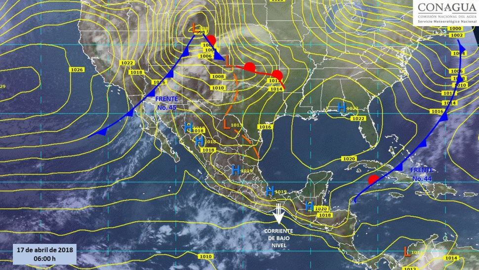 Mapa con el pronóstico del clima para este 17 de abril. (SMN)