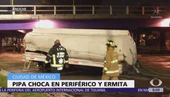 Pipa cae de puente vehicular en Periférico y Ermita