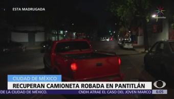 Recuperan camioneta robada en la colonia Pantitlán; hay dos detenidos