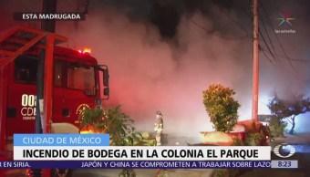Se incendia bodega en la colonia El Parque, CDMX