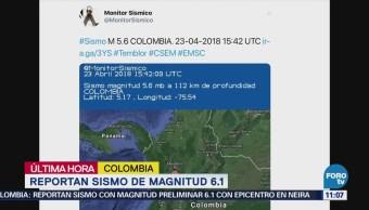 Se registra sismo de magnitud 6.1 en Colombia