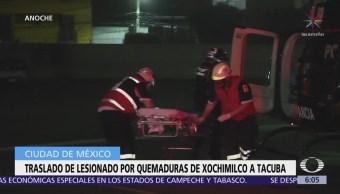 Trasladan a hombre con quemaduras de Xochimilco a Tacuba
