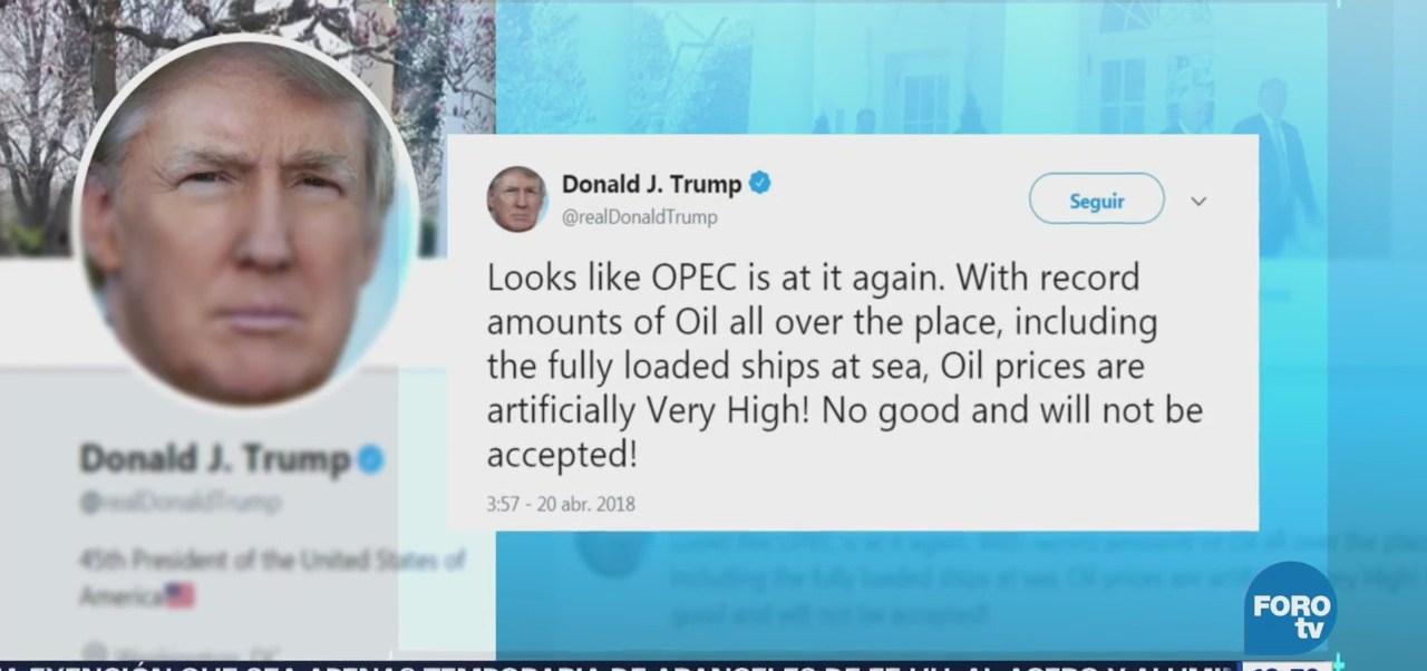 Trump Culpa Opep Precios Artificialmente Altos