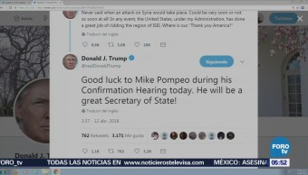 Trump desea buena suerte a Pompeo
