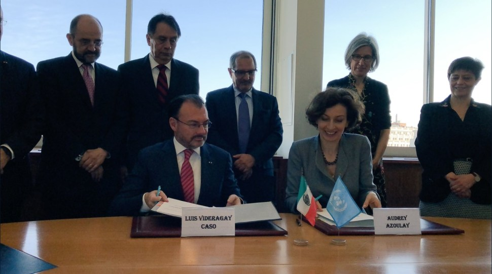 Videgaray sostiene junta con Audrey Azoulay, directora general de la Unesco