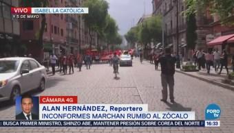 Manifestantes Marchan Conmemoración Día Del Trabajo CDMX