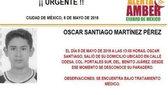 Activan Alerta Amber para localizar a Oscar Santiago Martínez, desaparecido en CDMX