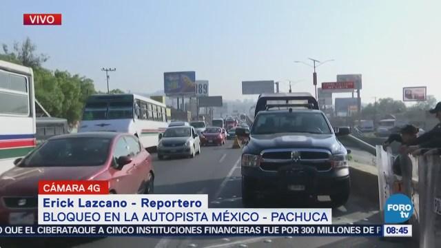Afectación vial de 15 kilómetros en la México-Pachuca por transportistas