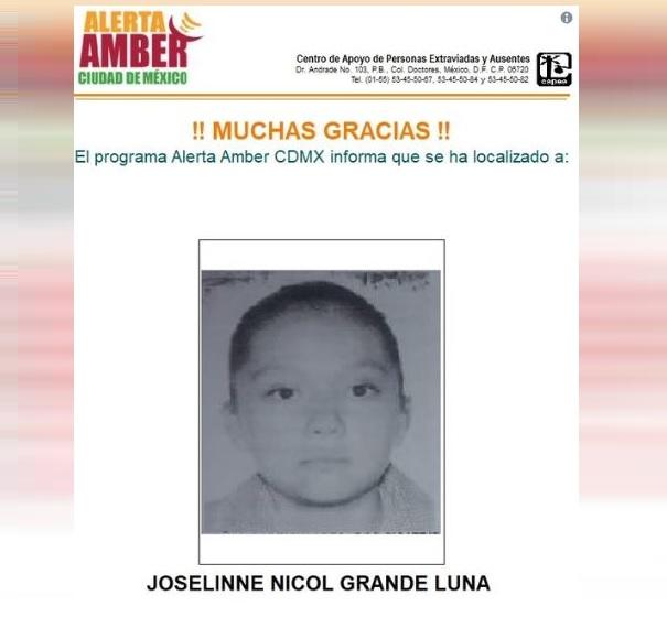 PGJCDMX desactiva alerta amber para localizar Joselinne Nicol Grande Luna