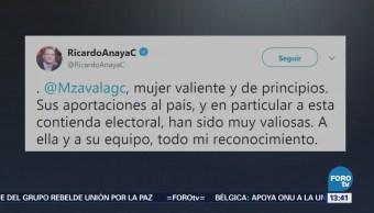 Anaya reconoce labor de Margarita Zavala tras renuncia a la contienda