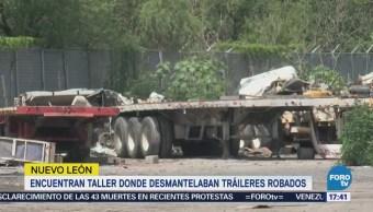 Aseguran unidades robadas en un taller en Apodaca, NL