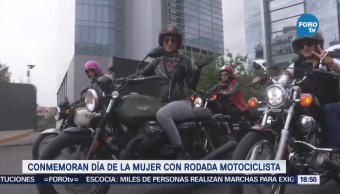 Conmemoran Día Mujer Rodada Motociclista Monumento Revolución