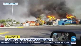 Cortocircuito provoca incendio en Campeche