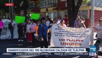 Damnificados del 19S bloquean calzada de Tlalpan