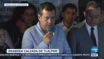 Damnificados retiran bloqueo en Calzada de Tlalpan