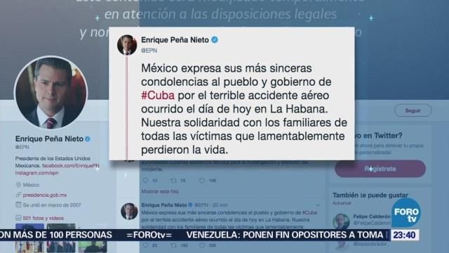 EPN Lamenta Accidente Aéreo Cuba Avionazo