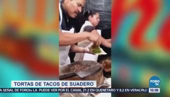 Extra Extra: Crean tortas de tacos de suadero en el Edomex