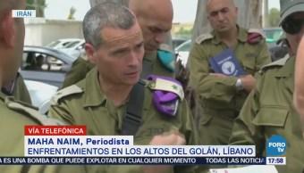 Fuerzas Israelíes Iraníes Enfrenta Territorio Sirio