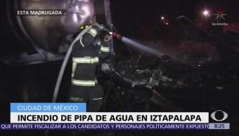 Hombres incendian pipa de agua en Iztapalapa