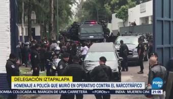 Homenaje a policía que murió en operativo contra el narcotráfico en Iztapalapa