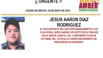 Alerta Amber para localizar Jesús Aarón Díaz Rodríguez